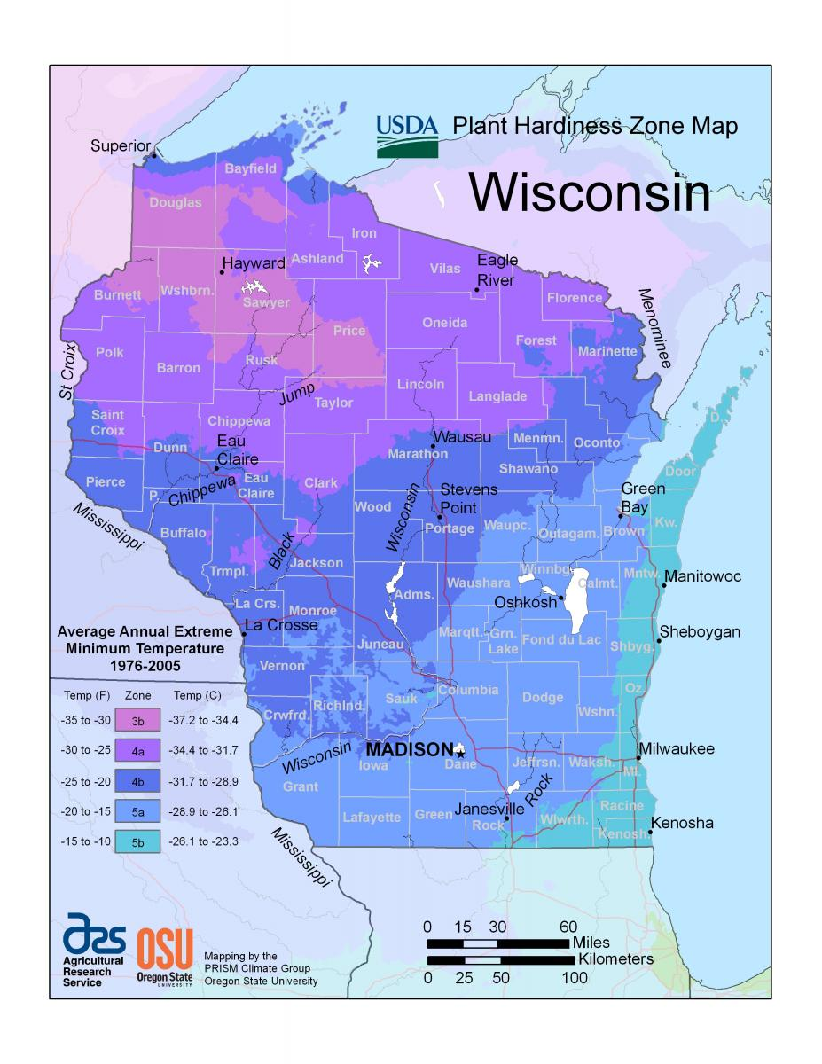Maps Wisconsin Horticulture - Us growing season map