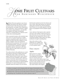 Home Fruit Cultivars of Northern Wisconsin