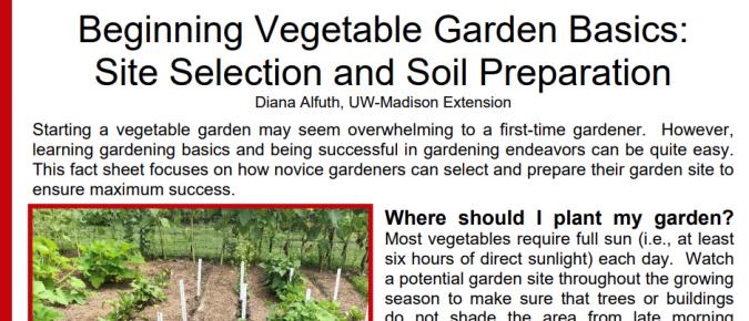 Beginning Vegetable Garden Basics: Site Selection and Soil Preparation